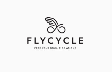 Flycycle logo, monochrome, by graphic artist Dimitrije Mikovic