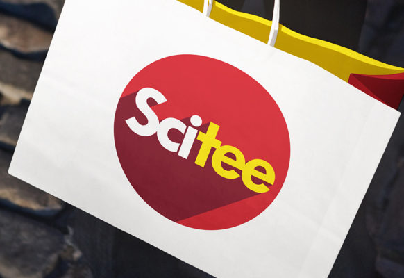Logo for Scitee on a shopping bag