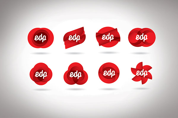 Selection of icons and logos for EDP, by Jessica Walsh